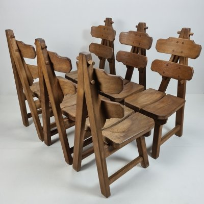 Set of 6 Brutalist Spanish solid oak dining chairs, 1970s