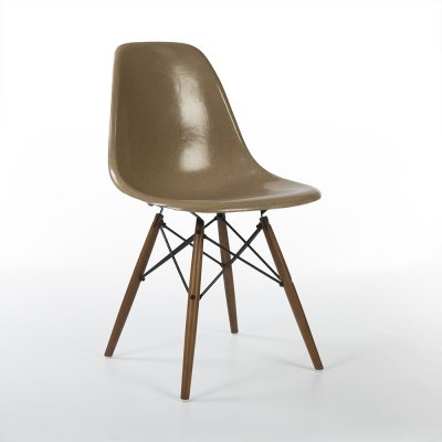 Tan Herman Miller Original Vintage Eames DSW Dining Side Chair