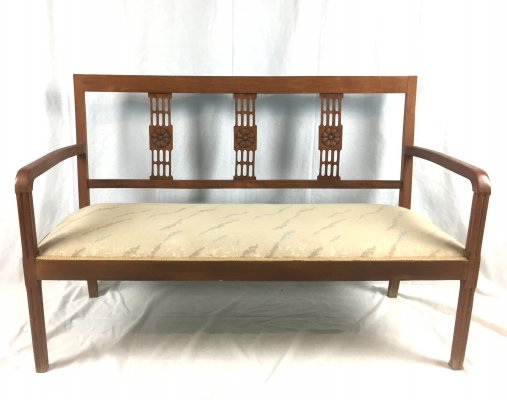 Art Deco Bench with Bentwood Armrests & Carved Wood Backrest, 1940s