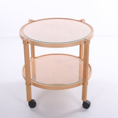Round wooden trolley with glass plates & wheels