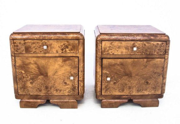 Pair of Art Deco Bedside tables, Poland 1960s