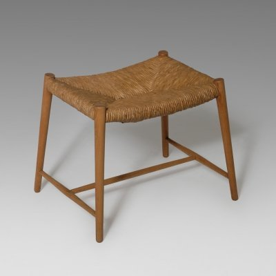Oak & Rush Stool, 1950s
