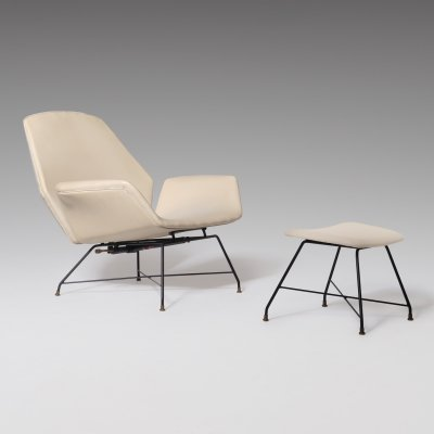 Reclining Lounge 'Lotus' lounge chair with Hocker by Augusto Bozzi for Saporiti, 1960s
