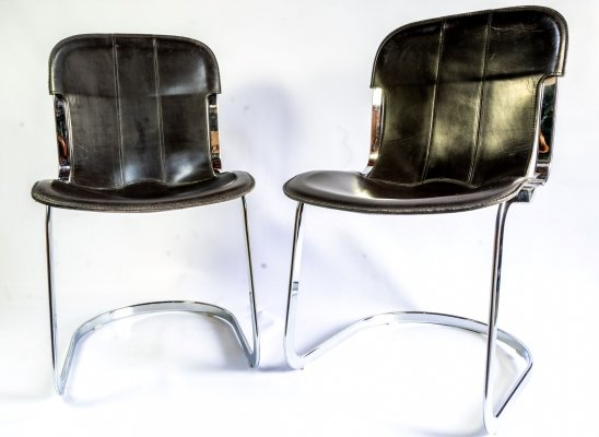 Set of 4 leather dining chairs by Willy Rizzo for Cidue, 1970s