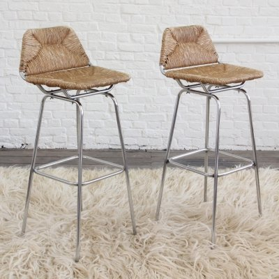 Pair of unique handcrafted Bar Stools, 1950s
