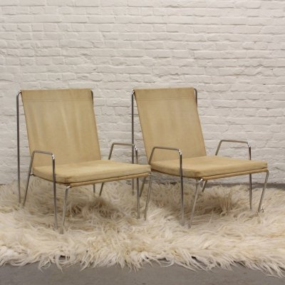 Pair of Suede Bachelor chairs by Verner Panton for Fritz Hansen, 1950s