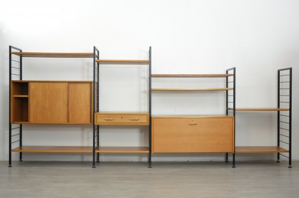 Ladderax Four Bay Shelving System, 1960s