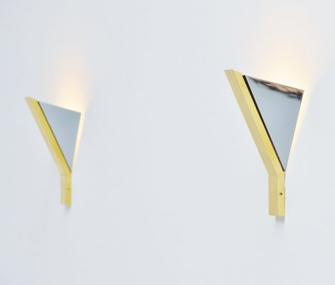 Romeo Rega wall lamp in chrome & brass, Italy 1970
