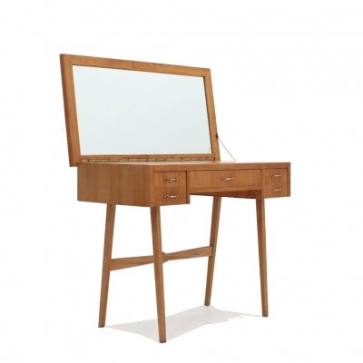 Vintage oak dressing desk with mirror, 1950s