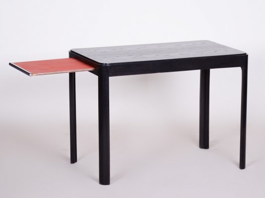 Small Black Oak Table with withdrawable shelf by Jindřich Halabala for UP Zavody, 1930s