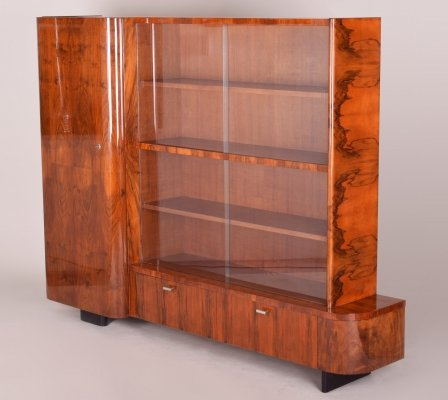 Art Deco Walnut Bookcase by Jindrich Halabala, Czechoslovakia 1930s