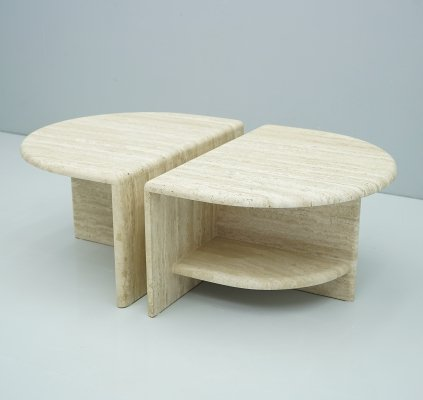 Pair of Twin Travertine Coffee or Side Tables, 1970s