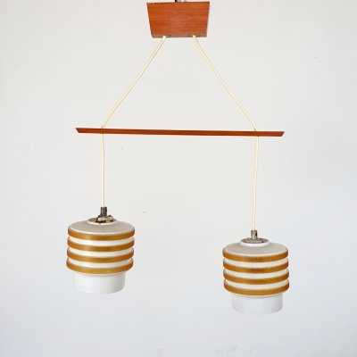 Wood & glass hanging ceiling light, 1960s