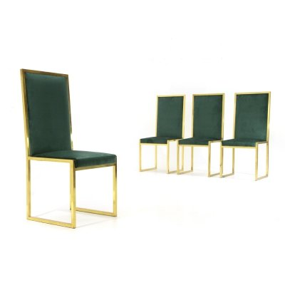 4 chairs in green velvet & brass, 1970s