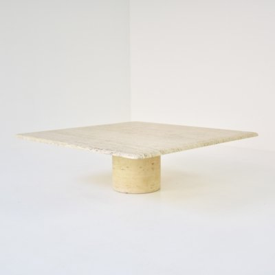 Square travertine coffee table by Angelo Mangiarotti for Up & Up, Italy 1970's