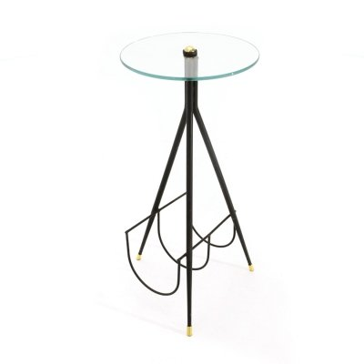 Side table with glass top & magazine rack, 1950s