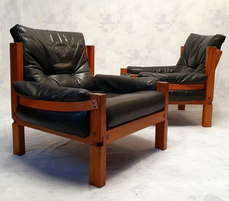 Pair of Brutalist Elm & Leather Model S15 Lounge Chairs from Pierre Chapo, 1960s