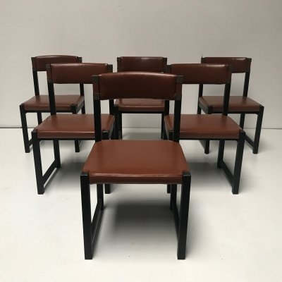 Set of 6 brutalist oak dining chairs by Emiel Veranneman for De Coene, Belgium 1970s