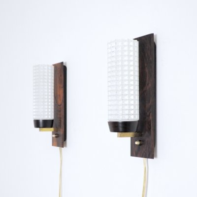 Danish Modern Rosewood & Glass Wall Sconce from Lyfa