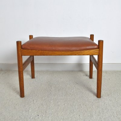 Danish Modern Oak & Leather Ottoman by Spøttrup Møbelfabrik