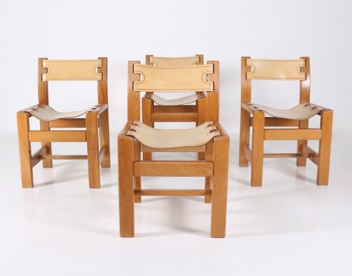 4 elm & leather chairs by Maison Regain, 1960's