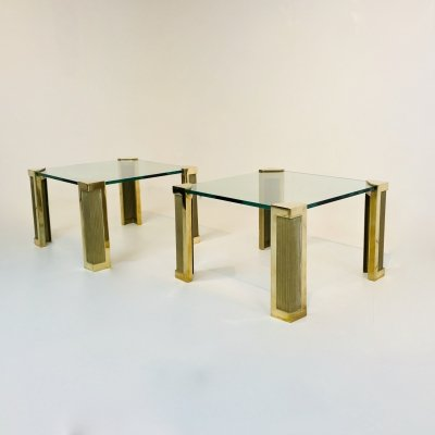 Pair of Square Model T14 Brass Coffee Tables by Peter Ghyczy