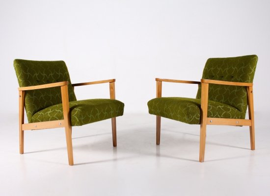 Pair of green visitor armchairs in beech & chenille fabrics, 1960's