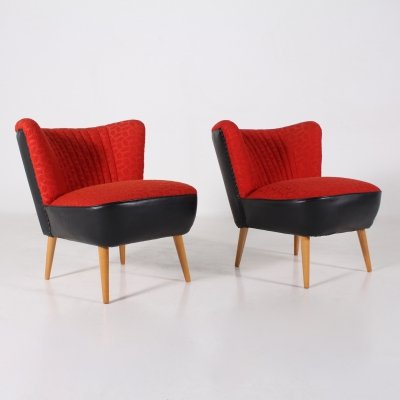 Pair of red & black faux-leather & fabrics cocktail armchairs, 1960's