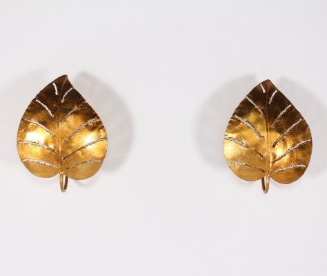 Pair of golden metal 'Monstera' wall lights, 1970's