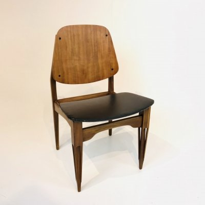 Italian Chair in wood & skai, Italy 1960s