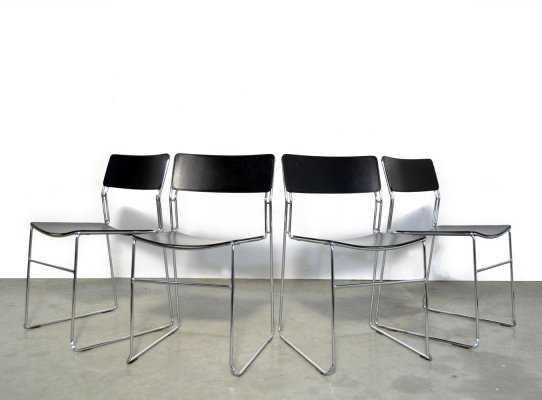 Set of 4 leather 'Sultana' dining chairs by Arrben International, Italy 1980s