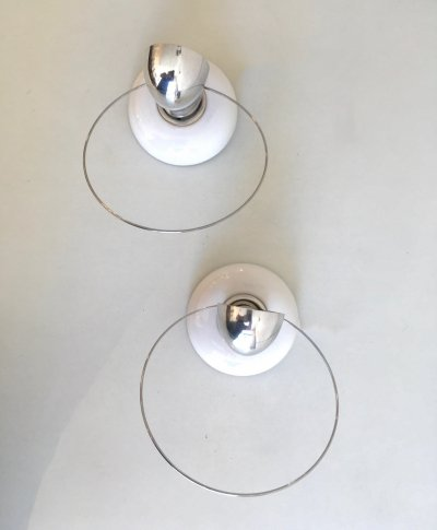 Pair of Bisbi wall lamps by Achille Castiglioni for Flos, 1970s