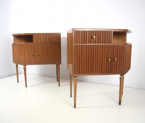 Mahogany & Brass Nightstands by Paolo Buffa, Italy 1950's