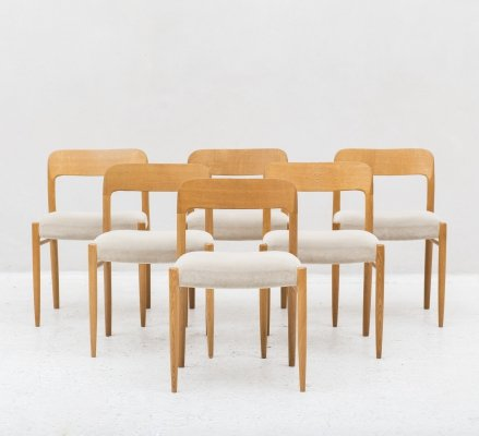 Set of 6 model No. 75 dining chairs by Niels O. Moller, Denmark 1960