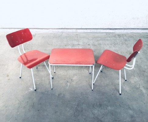 Dutch Design 2 Kitchen Chairs & Side Table by Lemafa Den Haag, 1950's