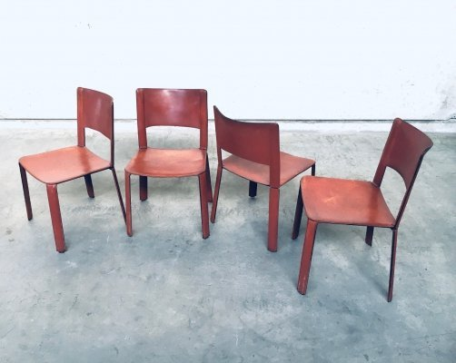 Set of 4 Italian Design Saddle Leather covered Dining Chairs, Italy 1970's