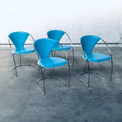Post Modern Italian Design set of 4 'Linda' Dining Chairs by Arrben, Italy 1980's