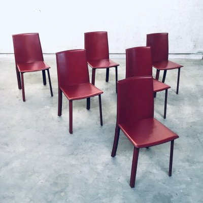 1980's Italian Design set of 6 Leather covered Dining Chairs, 1980s