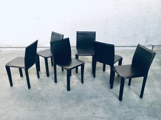 Set of 6 Chocolate Brown Leather Dining Chairs by Arper, Italy 1980's