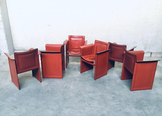 Set of 6 'Solaria' Leather Dining Arm chairs by Arrben Italy, 1970s