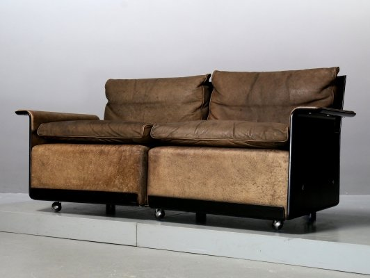 Brown leather 2-Seater Sofa 620 by Dieter Rams for Vitsoe, 1980s
