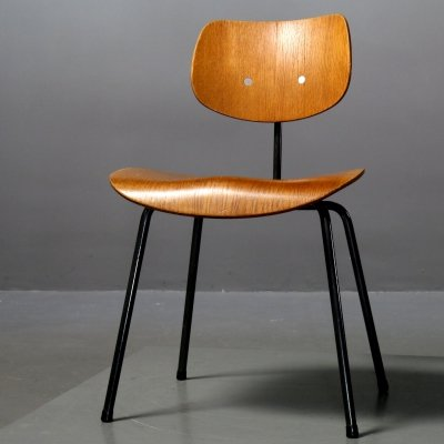 Oak veneer Chair SE 68 by Egon Eiermann for Wilde+Spieth, 1960s