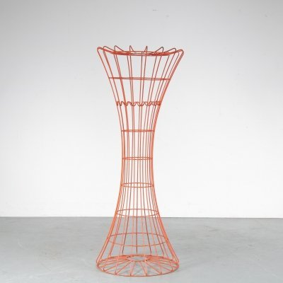 1960s Orange wire metal coat rack by Verner Panton for Fritz Hansen, Denmark