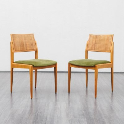 Set of two 1950s dining chairs in cherrywood & velours