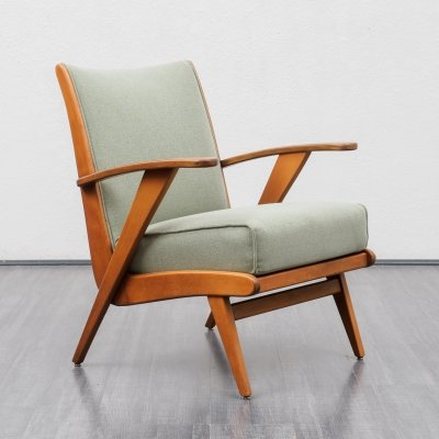 2 x Mid Century 1950s easy chair in light green