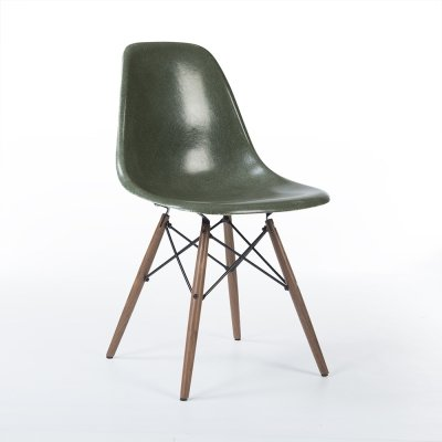 Olive Green Herman Miller Original Vintage Eames DSW Dining Side Chair