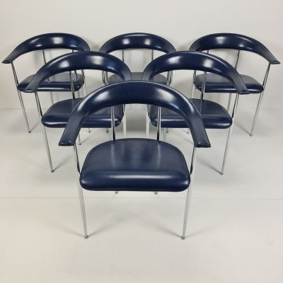 Set of 6 blue leather P40 armchairs by Giancarlo Vegni & Gianfranco Gualtierotti for Fasem, 1990s