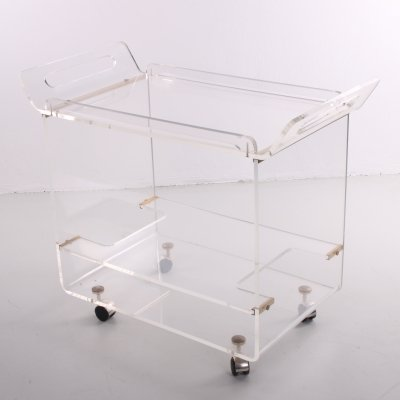 Italian design trolley in Plexiglass, 1970s