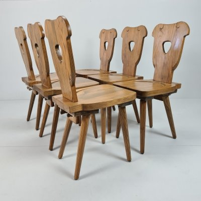 Set of 6 Brutalist Swedish pine chairs with octagonal tapered legs
