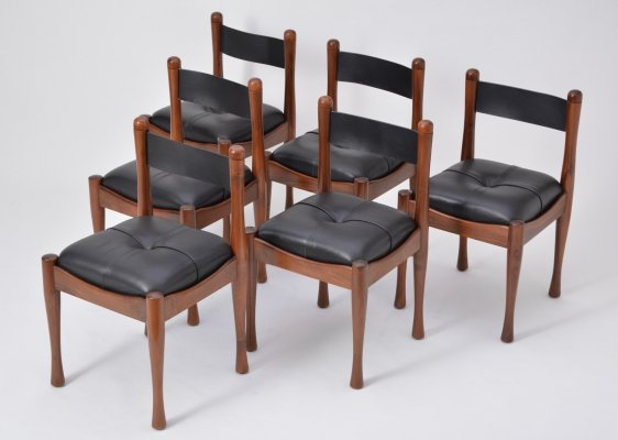 Set of 6 Italian Mid-Century Modern dining chairs by Silvio Coppola for Bernini
